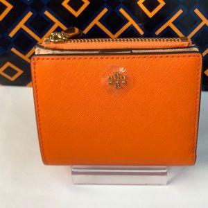 NWT Tory Burch Emerson Mini Wallet Orange